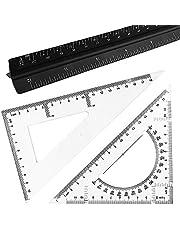 Juego de 3 reglas triangulares de escala de arquitecto, maxin de 12 pulgadas de aluminio con 2 reglas triangulares para estudiantes, dibujantes, arquitectos e ingenieros