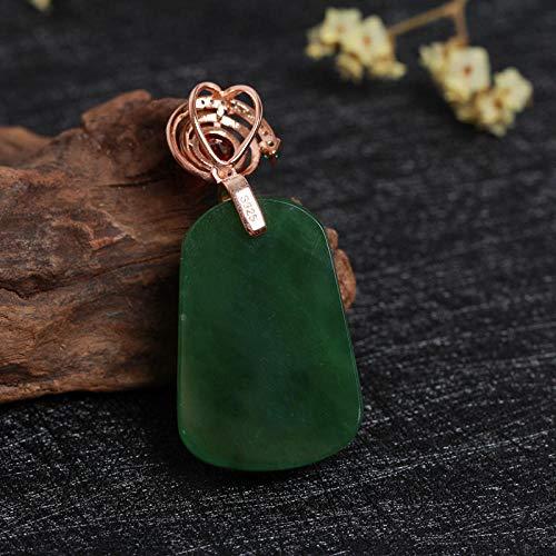 SanQ-Seven Colgante de Jade Natural de Hetian Oro Rosa S925 Plata de Ley con Incrustaciones de Granate Rojo Jasper Tag Collar @ Verde espinaca