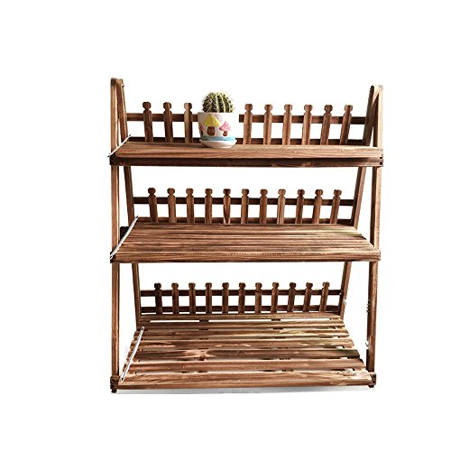 Plancher bois carbonisé 3 couches étagère à fleurs pliante balcon extérieur salon étagère à fleurs (taille : 60 cm long)