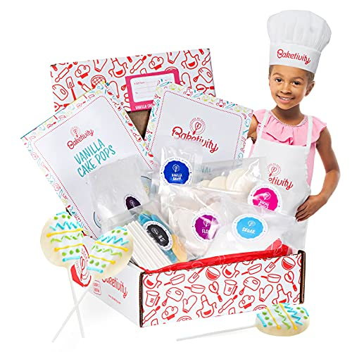 Baketivity Vanilla Cake Pops Making Kit for Kids - DIY Baking Set with Pre-Measured Ingredients - Party Supply Kit for Children Ages 6 and Up - Best Gift Idea for Boys and Girls
