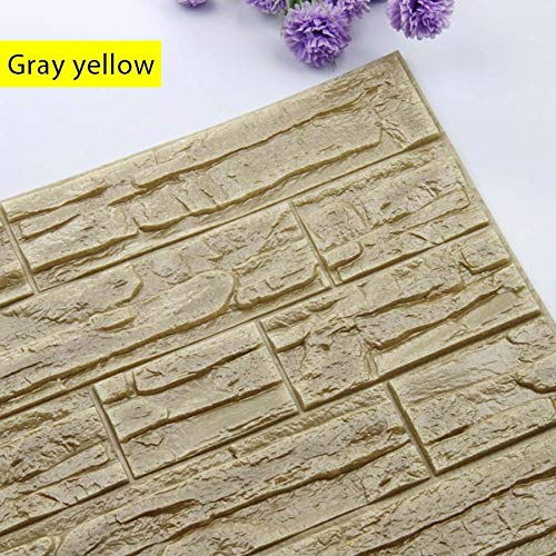 SMXGF Zelfklevende 3D Wall Sticker Kinderkamer Waterproof Achtergrond Brick Pattern Wallpaper Mural Woonkamer Slaapkamer DIY Foam Sticker (Color : Gray yellow, Dimensions : 60cm x60cm)