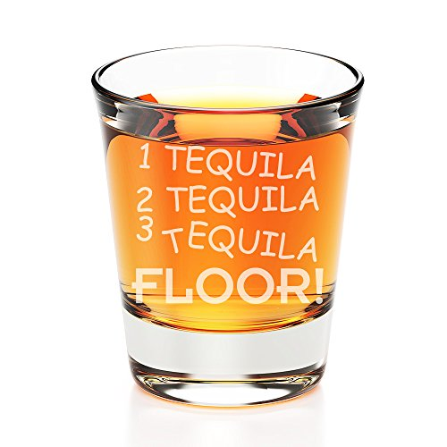 1 Tequila 2 Tequila 3 Tequila Floor Engraved Fluted Shot Glass