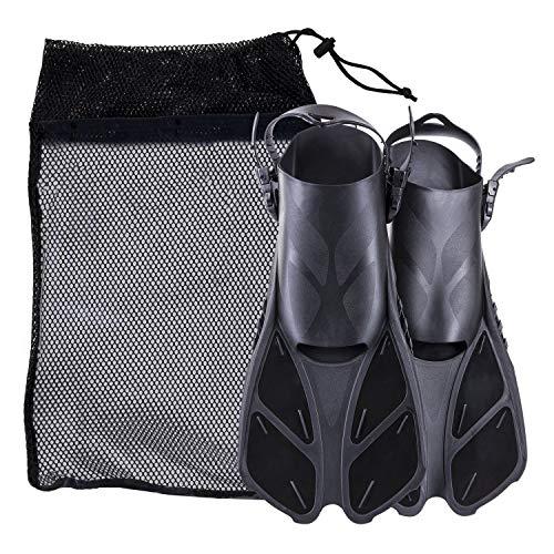 KAILH Premium Flossen mit Verstellbarer Ferse für Erwachsene, Flossentasche zum umhängen, Unisex für Damen & Herren, ideal zum Tauchen, Apnoe, Schnorcheln und Schwimmen, Schwarz