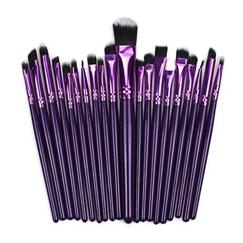 Crazywind 20 Pièces Professionnel Pinceaux de Maquillage Set Cheveux Synthétiques Multifonctions Fard à Paupières Blush Poudre Brosses Kit Outils - Pourpre