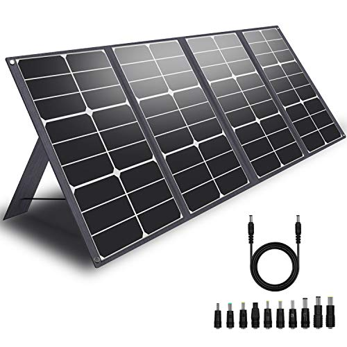 CHAFON Portable 80W Solar Panel Charger Foldable SolarBook DC 18V for Jackery/Goal Zero Yeti/ROCKPALS Power Station Battery Pack Generator Replenish On Camping Van RV Travel,QC3.0 USB Quick Charging