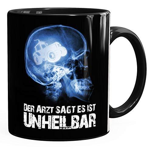 Moonworks® Kaffee-Tasse Xray Der Arzt sagt es ist unheilbar Hobby Schädel Röntgenbild Schädel Trecker Traktor Landwirt Farmer Diagnose Geschenk-Tasse schwarz unisize