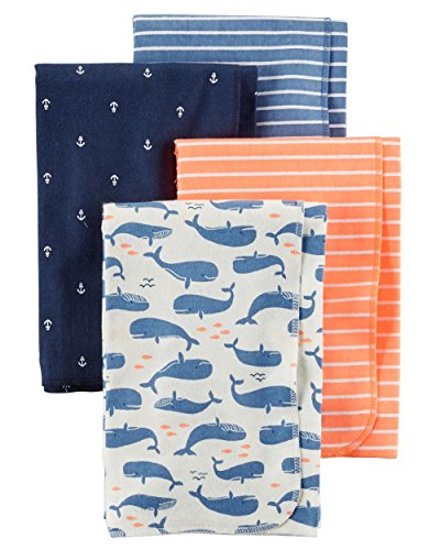 Carter's 4-Pack Cotton Flannel Receiving Blankets, Ladybugs & Flowers