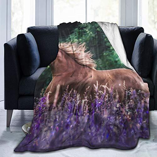 Cap pillow Manta de forro polar de 127 x 152 cm – Caballo melena, prado, flores de campo, hogar, franela suave, cálida, manta de felpa para cama/sofá/oficina/camping