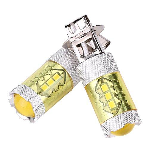 Une paire d'antibrouillard de voiture LED, ampoules jaunes de lampe d'antibrouillard de voiture de 12-24V 80W H3 16SMD