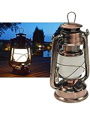 ChiliTec 22634 - Linterna LED para camping, diseño de cobre, intensidad regulable, funciona con pilas, 4 pilas AA, 23,5 cm de alto, ojal y argolla de color blanco cálido, 6 V
