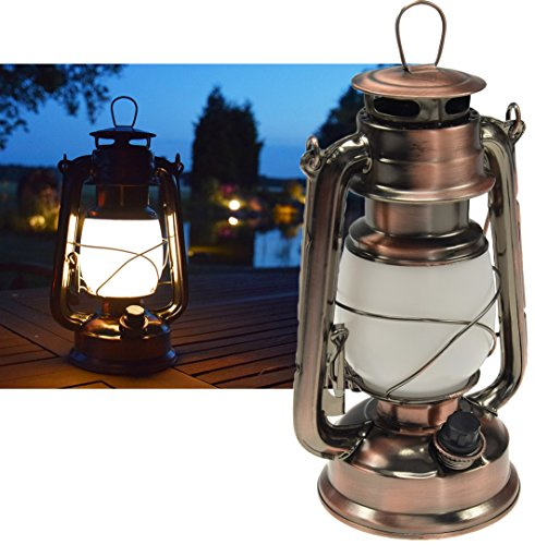 ChiliTec LED Camping Laterne XXL 28,5cm Garten-Laterne Retro Design I Dimmbar Batteriebetrieb 4x AA Mignon I mit Bügel I Warmweiß