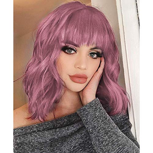 Nnzes Short Bob Curly Wig with Bangs Shoulder Length Pink Synthetic Wavy Wigs for Women Natural Looking Girl's Colorful Costume Hair Heat Resistant Fiber Wig