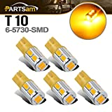 Partsam 5x Amber Yellow 10-5730-SMD Super Bright 168 2825 W5W 194 T10 LED bulbs Replacement For Cab Marker...