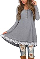 STYLEWORD Women's Long Sleeve Round Neck Lace Tunic Top Button Up Henley Shirts Casual Blouse Dress for Leggings