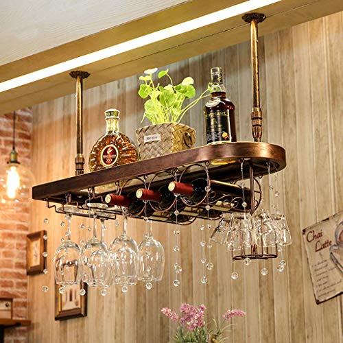 MTYLX Estante para Vinos, Soporte de Exhibición, Gabinete para Vinos, Soporte para Botellas de Vino para Colgar en el Techo, Soporte para Vasos de Vino de Altura Ajustable, Organizador de Botellas de