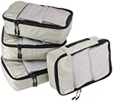 Amazon Basics Small Packing Travel Organizer Cubes Set, Gray - 4-Piece Set