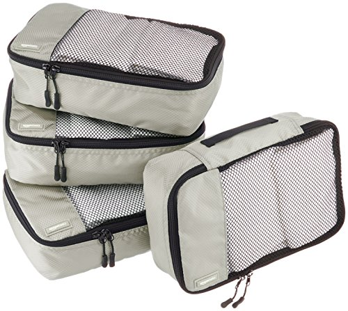 Amazon Basics - Bolsas de equipaje pequeñas (4 unidades), Gris