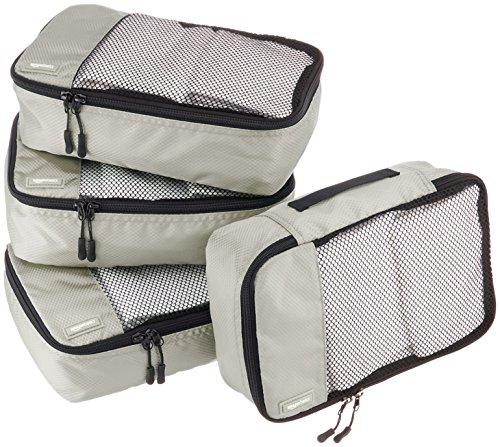 AmazonBasics Kleine Kleidertaschen, 4 Stück, Grau
