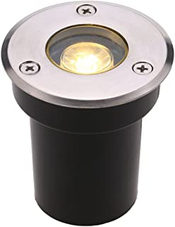 Tomshine 5W AC/DC 12V 埋め込み式LED スポットライト 550LMハイパワー 強化ガラス IP67防水対応  ガーデンライト 玄関先 屋外照明 遊歩道 (1W, 2800-3500K)