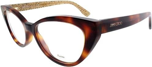 New Jimmy Choo JC 149 Q9W Havana Beige Glitter Frame Cat Eye Eyeglasses 53