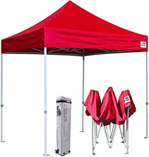 Eurmax 8x8 Feet Ez Pop up Canopy, Outdoor Canopies Instant Party Tent, Commercial Gazebo Bonus Roller Bag (Red)