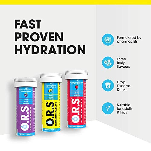 O.R.S Hydration Tablets with Electrolytes, Vegan, Gluten and Lactose Free Formula – Natural Lemon Flavour, 12 Tablets