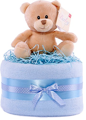 color azul con cebras Regalo para fiesta del beb/é en forma de tarta de 3 niveles
