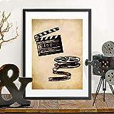 Arte de la pared Impresión modular Imagen HD Cine de estilo nórdico Retro Palomitas de maíz Pintura Cartel de la lona Sala de estar Dormitorio Pasillo Decoración del hogar Pintura de pared Sin marco
