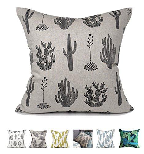 Kdays Oreiller couverture oreiller lin cas concepteur fait main oreillers décoratifs pour canapé 20 x 20 pouces Gruau de cactus