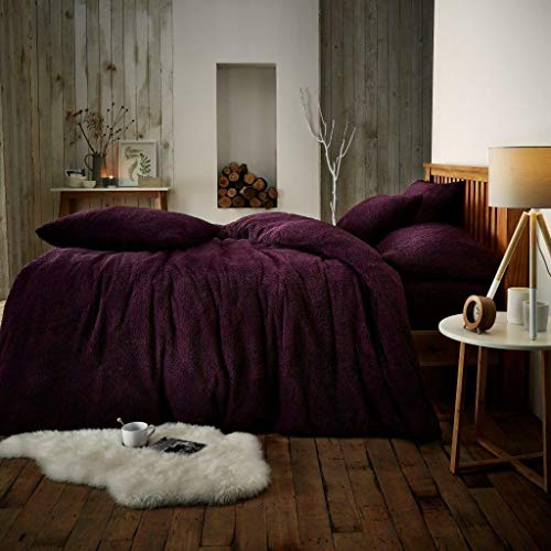 RAYYAN Linen Teddy Fleece Duvet Cover Bedding Set Thermal Warm Cosy Soft Fur Quilt Cover Bedding Set with Pillowcase(s) (Aubergine, DOUBLE)