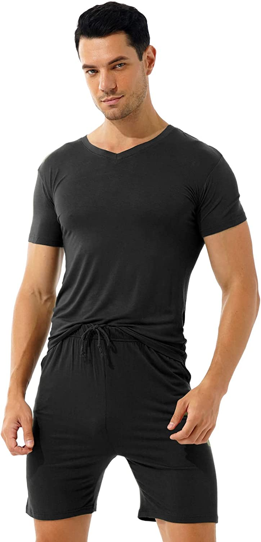 Mufeng Mens Short Sleeve Lounge Set with Drawstring Shorts Home Casual 2 Piece V Neck Sleepwear Pajamas