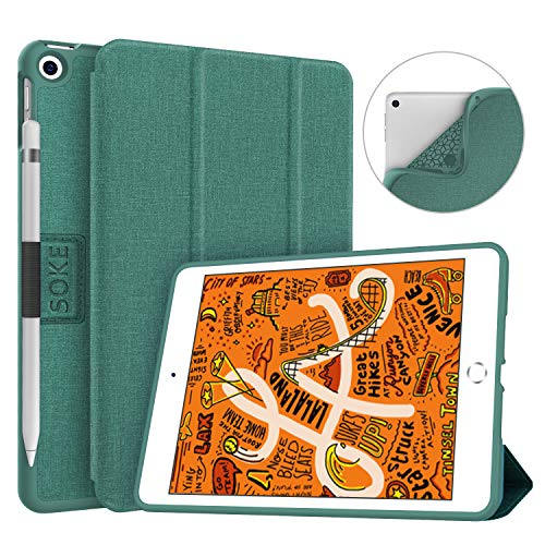Soke iPad Mini 5 Case 2019 with Pencil Holder, Premium Trifold Case with Strong Protection, Ultra Slim Soft TPU Back Cover with Auto Sleep/Wake Function for Apple iPad Mini 5th Gen,Lake Blue