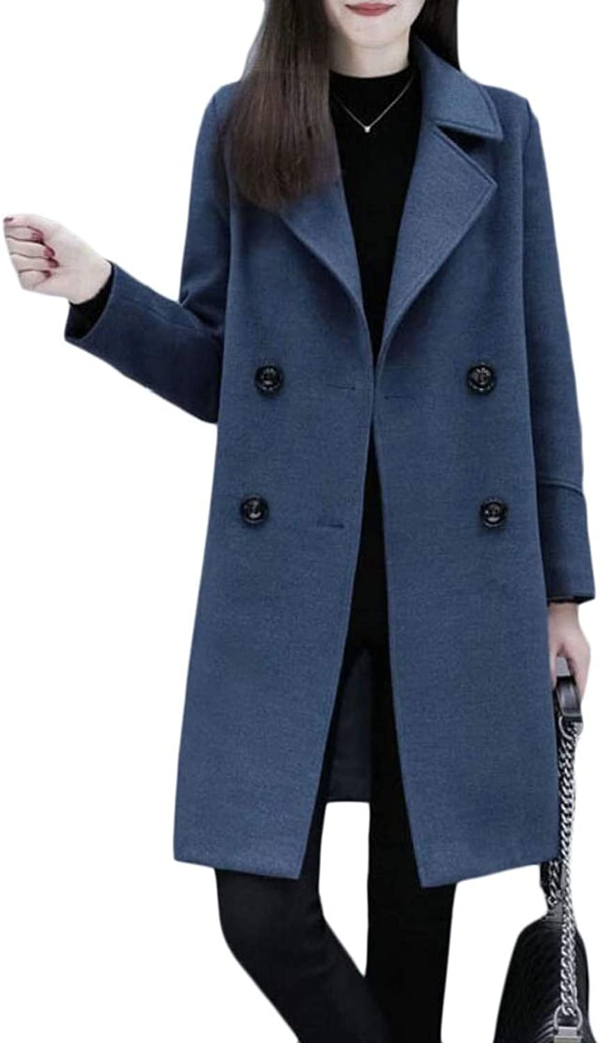Desolateness Women's Trench Coat Wool Blend Jacket Double Breasted Solid Outwear