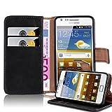 Cadorabo Custodia Libro per Samsung Galaxy S2 / S2 Plus in Nero Grafite - con Vani di Carte, Funzione Stand e Chiusura Magnetica - Portafoglio Cover Case Wallet Book Etui Protezione
