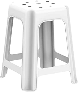 Cosmoplast High Stool Square for Indoors and Outdoors, Plastic, White, W 37.0 x H 46.0 x D 37.0 cm