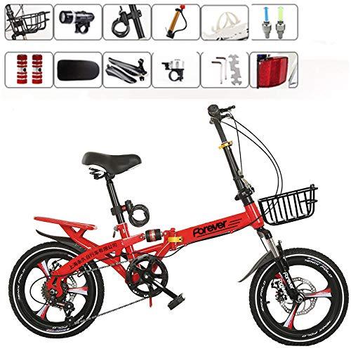 LXLTLB Klappfahrrad Unisex Erwachsener 20in Stoßdämpfung Variable Geschwindigkeit Scheibenbremse Faltbares Fahrrad Tragbar Folding City Bike,Rot