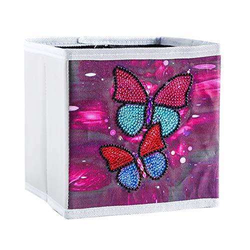 Caja de almacenamiento plegable para pintura de diamantes, 17 x 17 x 17 cm, con diseño de mariposa, caja de almacenamiento para el hogar