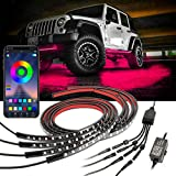 Car LED Underglow Lights, 4Pcs RGB Multicolor Underglow Car Lights with App Control, Exterior Neon Accent Strip Light Kits (2 X 47 Inch + 2 X 35 Inch) Music Color Chasing Lights for Offroad Truck ATV