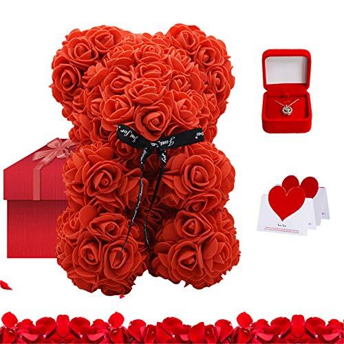 Tenflyer Oso rosa de peluche y collar con tarjeta de regalo para aniversario, cumpleaños, despedidas de soltera, Día de la Madre