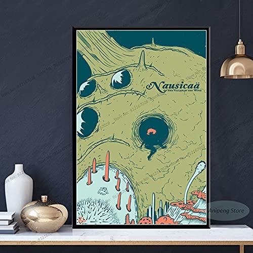 meishaonv Nausicaa della Valle del Vento Anime Studio Ghibli Poster Stampe su Tela Pittura Wall Art Picture A3489 50×70 CM Senza Cornice