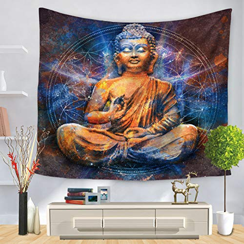 SKYROPNG Tapestries Wall Hanging,Bohemian Indian Buddha Statue Mandala Psychedelic Hippie Tapestry,3D Print Wallpaper Mural,for Bedroom Dorm Living Room Multifunction Decoration,150Cm × 200Cm