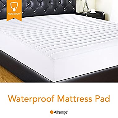 Allrange Hypoallergenic Quilted Fitted Waterproof Mattress Pad, Stretch-up-to 16 , Moisture Management, Stain Release, Snug Fit, Mattress Protector, CK