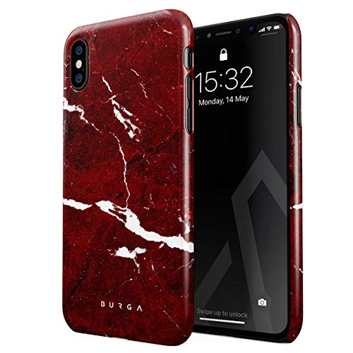 BURGA Phone Case Compatible with iPhone X iPhone Xs - Iconic Ruby Red Marble Cute Case for Girls Thin Design Durable Hard Plastic Protective Case