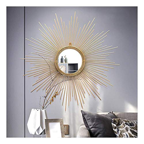 Entree mirror Sunburst Muur Decorative Mirror, Grote Ronde Metal Starburst Decorative Wall Mirror, eetkamer, woonkamer, hal Porch decoratieve Opknoping Mirror decoratieve spiegel (Size : 100cm)