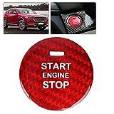 Haofy 点火ボタンのトリムカバー、カーボンファイバー 車のエンジンスタートボタン リング装飾 車内用 エンジン点火 ボタン カバー トリム 高級感 実用的 専用設計(赤)