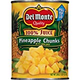 Del Monte Canned Pineapple Chunks in 100% Juice, 20 Ounce, Pack of 12