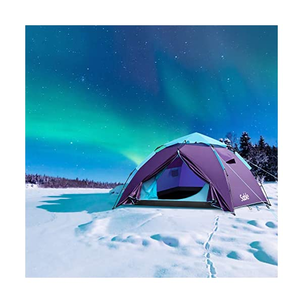 Sable Pop Up Beach Tent Purple, Sun Shelter 2 3 Man Tent for Kids Adults Windproof Waterproof and Quick Set-up, with Carry Bag for Outdoor Garden, Camping, Fishing, Picnic 9