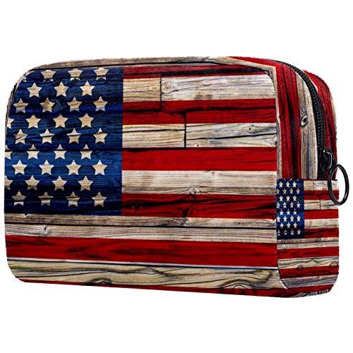 Makeup Bag Organizer Kleine CosmeticBagsforWomen Travel Kulturbeutel Makeup Case Geldbörse Handtasche alte gemalte amerikanische Flagge auf dunklem Holzzaun