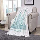 ALUONI Philadelphia Skyline, Outline Monochrome ,Throw Blanket for Couch Sofa Fleece Blanket Throw Size Fuzzy Soft Blanket for Couch/Chair/Love Seat/Car,59' x 78.7' No26686