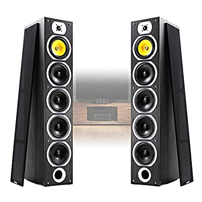 Fenton Pair of Floor Standing HiFi Speakers Tower Columns Home Stereo Audio 600w Black Wood 4x 6.5 inch Woofer Drivers from Fenton